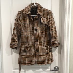 Zara Patterned Trench Coat Size Small
